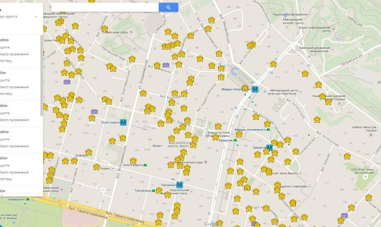 карту бомбоубежищ Киева