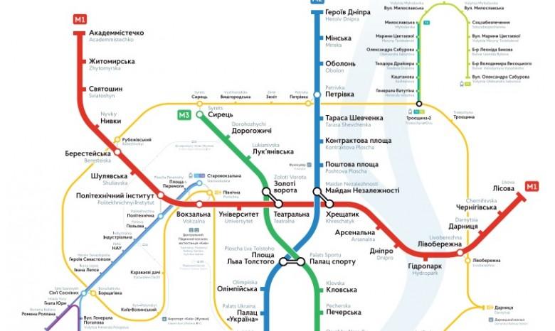 новая схема метро Киева