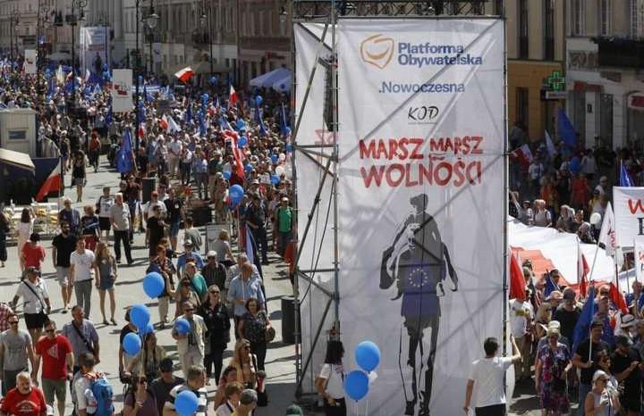 ВВаршаве прошла многотысячная антиправительственная акция вподдержкуЕС